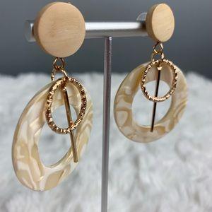NEW Tan Pearl + Gold Layered Tortoise Dangle